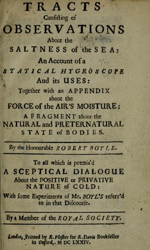 Download Tracts consisting of observations about the saltness of the sea