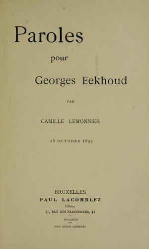 Paroles pour Georges Eekhoud by Camille Lemonnier