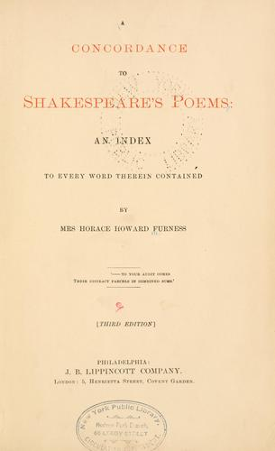 Download A concordance to Shakespeare's poems