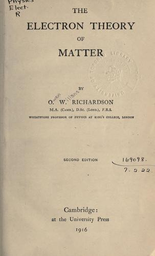 Download The electron theory of matter.