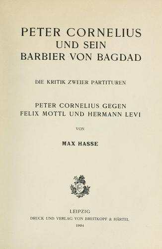 Download Peter Cornelius und sein Barbier von Bagdad
