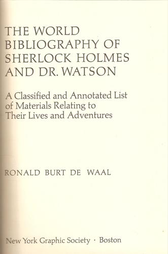 The World Bibliography of Sherlock Holmes and Dr. Watson