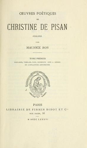 Oeuvres poétiques de Christine de Pisan