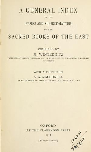 A general index to the names and subject-matter of The sacred books of the East.