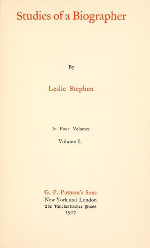 Download Studies of a biographer.