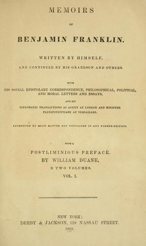 Download Memoirs of Benjamin Franklin