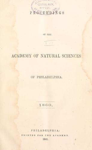 Proceedings of the Academy of Natural Sciences of Philadelphia, Volume 12