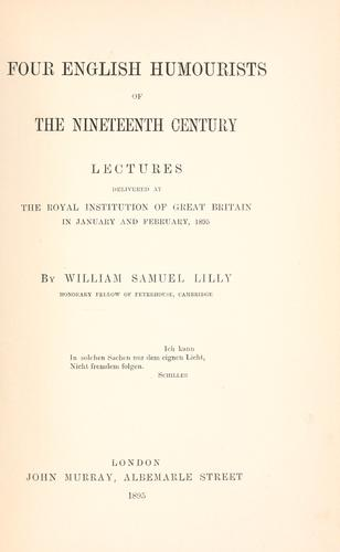 Download Four English humourists of the nineteenth century.