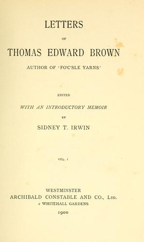 Letters of Thomas Edward Brown