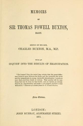 Download Memoirs of Sir Thomas Fowell Buxton, bart.
