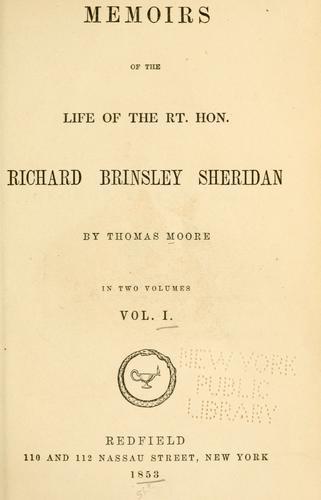 Download Memoirs of the life of the Rt. Hon. Richard Brinsley Sheridan