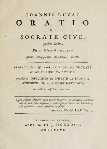Download Ioannis Luzac Oratio de Socrate cive