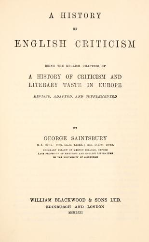A history of English criticism