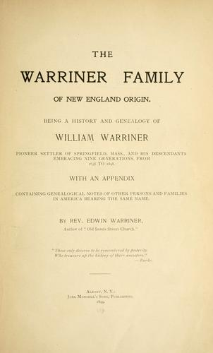 Download The Warriner family of New England origin.