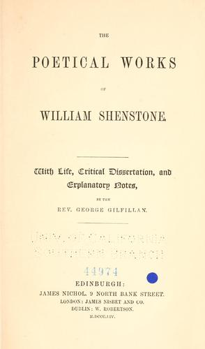 The poetical works of William Shenstone.