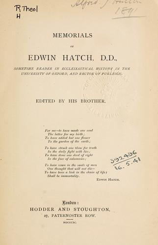 Download Memorials of Edwin Hatch …
