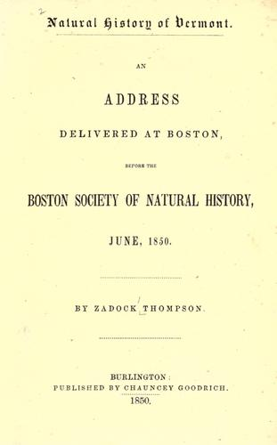 Download Natural history of Vermont.