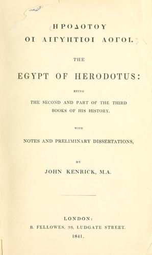 The Egypt of Herodotus by Herodotus