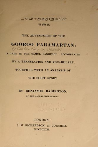 The adventures of Gooroo Paramartan by Costantino Giuseppe Beschi