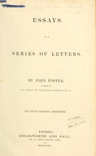 Download Essays in a series of letters.