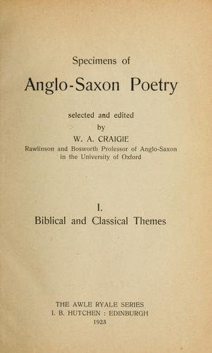 Specimens of Anglo-Saxon poetry.