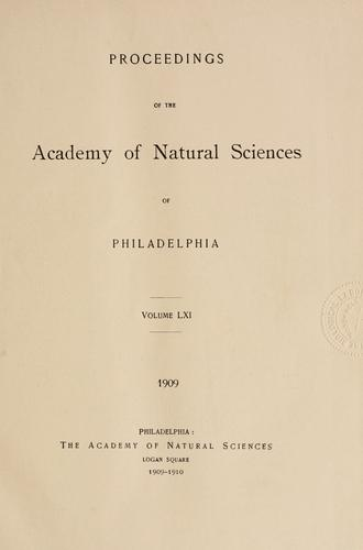 Download Proceedings of the Academy of Natural Sciences of Philadelphia, Volume 61
