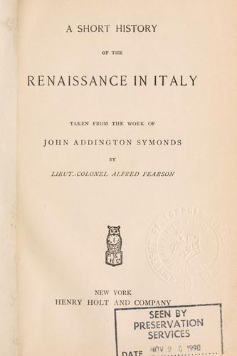 Download A short history of the Renaissance in Italy.