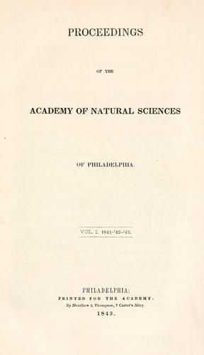 Download Proceedings of the Academy of Natural Sciences of Philadelphia, Volume 1