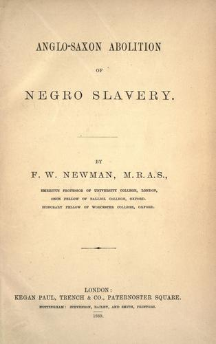 Download Anglo-Saxon abolition of Negro slavery