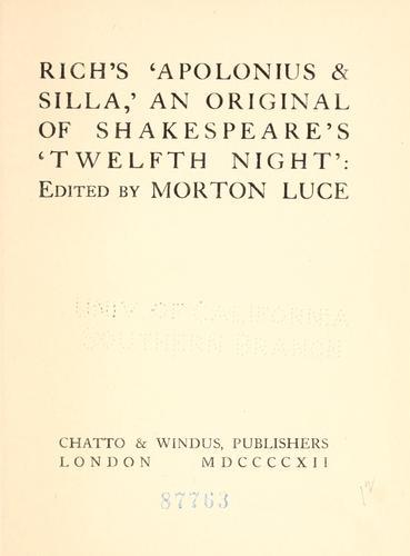 Rich's 'Apolonius & Silla,'