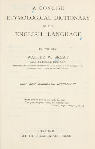Download A concise etymological dictionary of the English language.