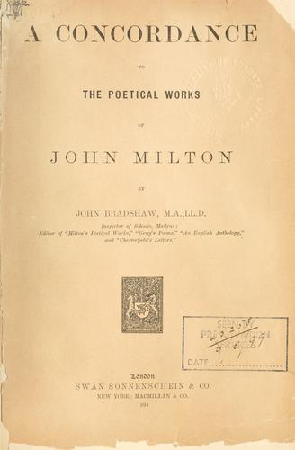 Download A concordance to the poetical works of John Milton.