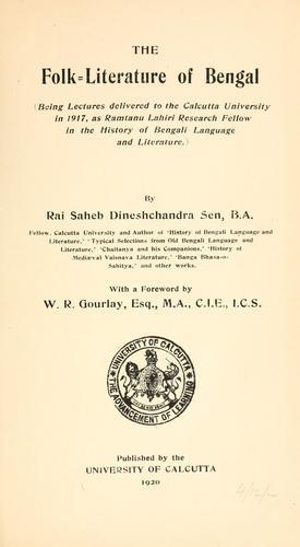 The folk-literature of Bengal