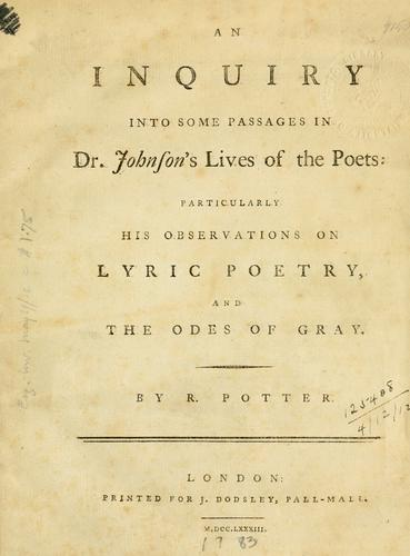 Download An inquiry into some passages in Dr. Johnson's lives of the poets