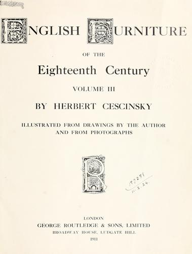English furniture of the eighteenth century