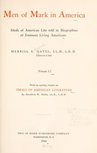 Men of mark in America