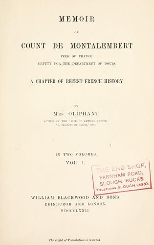 Download Memoir of Count de Montalembert …