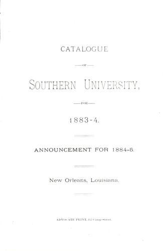 Catalogue of Southern University, for 1883-4 by Southern University.