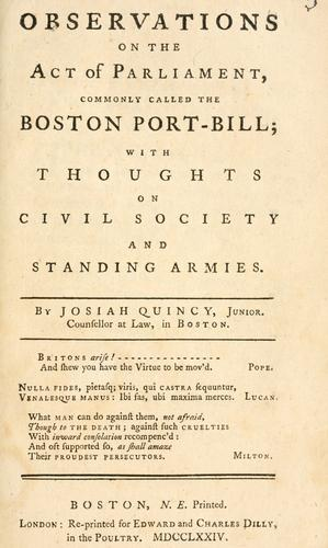 Observations on the act of Parliament commonly called the Boston port-bill