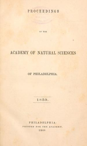 Proceedings of the Academy of Natural Sciences of Philadelphia, Volume 11