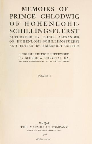 Memoirs of Prince Chlodwig of Hohenlohe-Schillingsfuerst