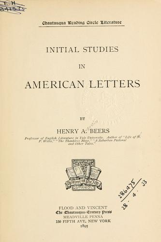 Download Initial studies in American letters.