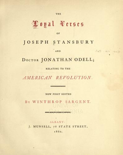 Download The loyal verses of Joseph Stansbury and Doctor Jonathan Odell