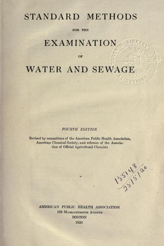 Standard methods for the examination of water and sewage.