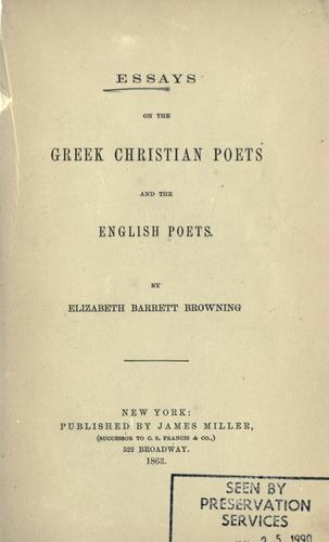 Download Essays on the Greek Christian poets and the English poets