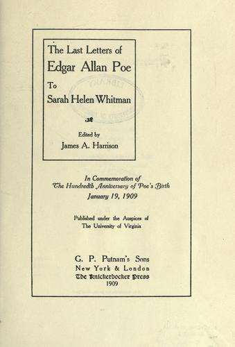 Download The last letters of Edgar Allan Poe to Sarah Helen Whitman