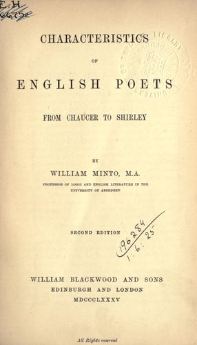 Characteristics of English poets from Chaucer to Shirley.