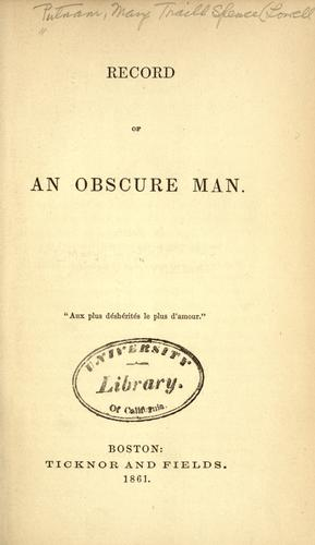 Download Record of an obscure man