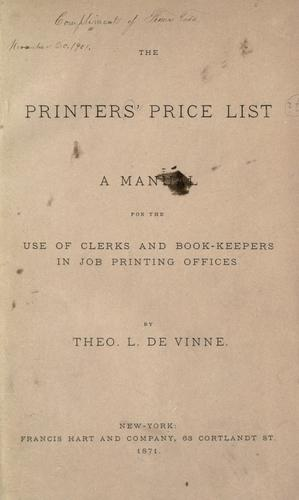 The printers' price list