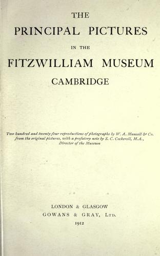 Download The principal pictures in the Fitzwilliam Museum, Cambridge